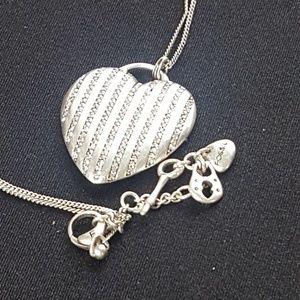 Fossil Silver Rhinestone Heart Pendant Necklace